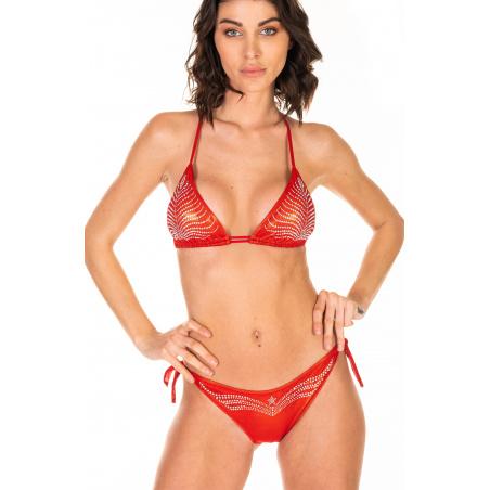 Bikini Triangolo Imbottito Slip Fiocchi Foglia Strass