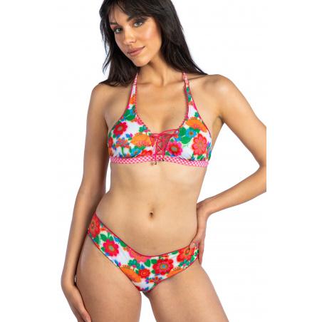 Bikini Brassiere Con Incrocio Slip Culotte Fiore di Campo