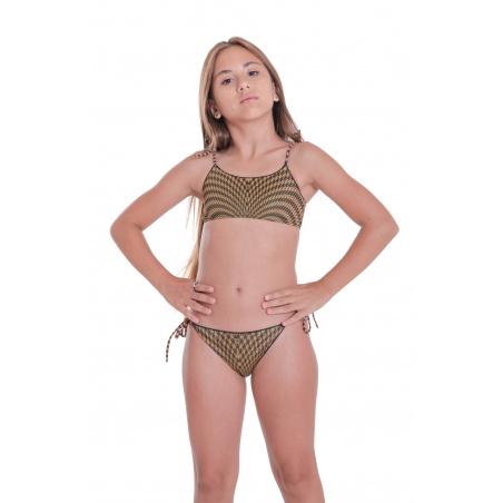Bikini Fascia Slip Fiocchi Pied De Poule Mini