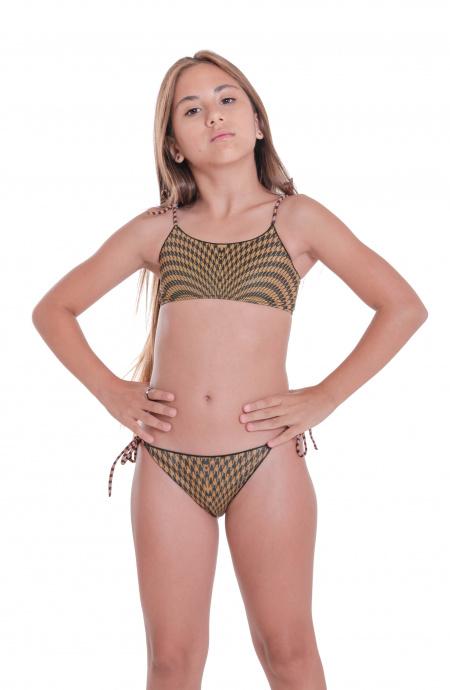Bikini Fascia Slip Fiocchi Pied De Poule Mini Pin-Up Stars - 5