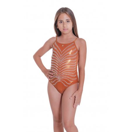 Costume Da Bagno Intero Foglia Strass Mini