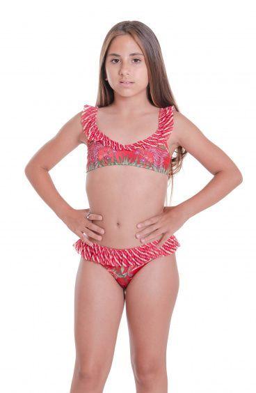 Bikini With Rouge Slip Mini Chameleon Print Skirt Pin-Up Stars - 1