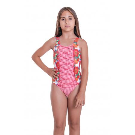 One-piece Swimsuit with Crossed Neckline Mini Field Flower