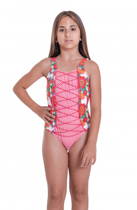 One-piece Swimsuit with Crossed Neckline Mini Field Flower Pin-Up Stars - 2