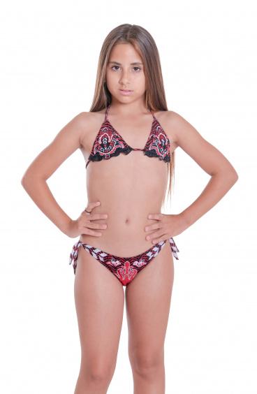 Bikini Triangolo Slip Fiocchi Stampa Patch Mini Pin-Up Stars - 6
