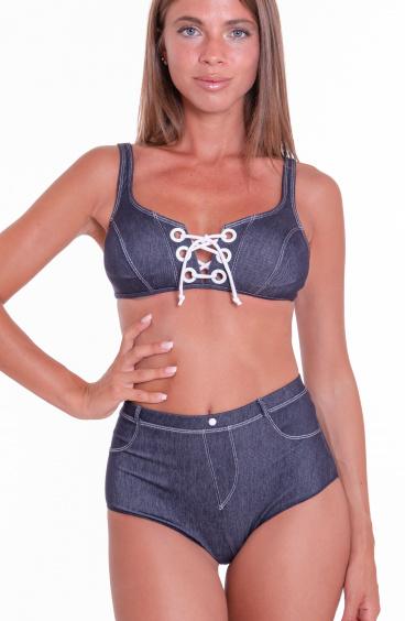 Bikini Brassiere Padded Retro Brief In Jeans Agogoa - 1