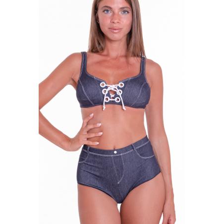 Bikini Brassiere Padded Retro Brief In Jeans
