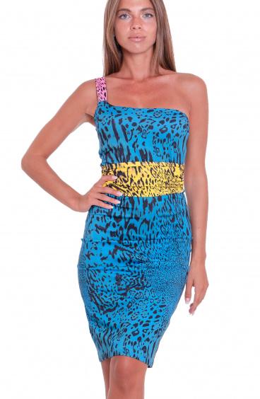 Animal Colors One-Shoulder Sheath Dress Agogoa - 1