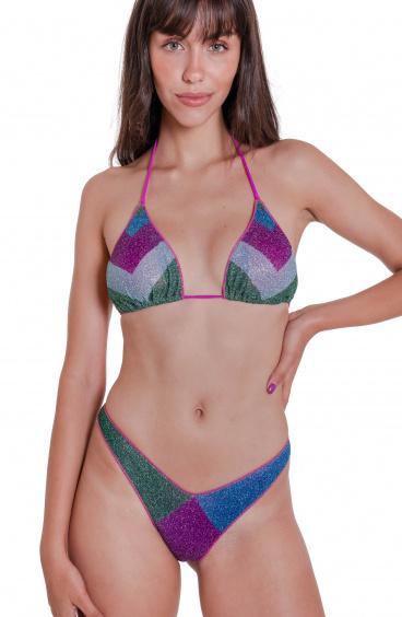 Bikini Triangolo Block Slip Sgambato Color Block Agogoa - 8