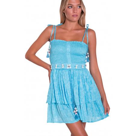 Shell Embroidery Mini Dress