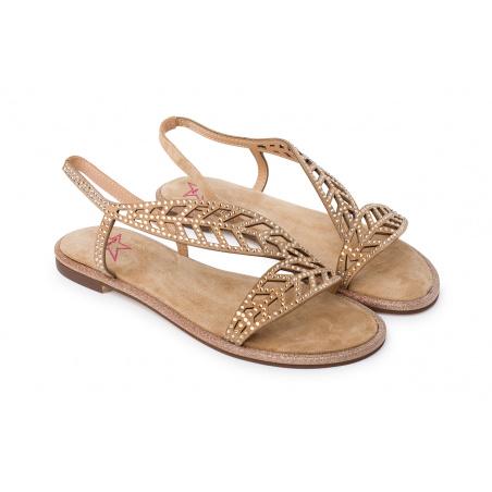 Sandalo Foglia Con Strass