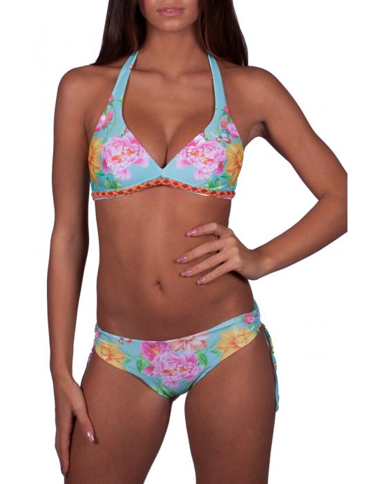 Brassiere Bikini con Stampa Pavone