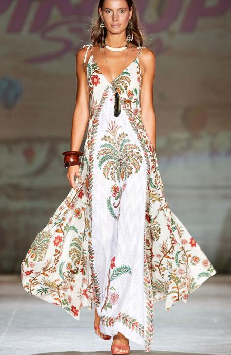 Maxi Dress Indian Print Pin-Up Stars - 1