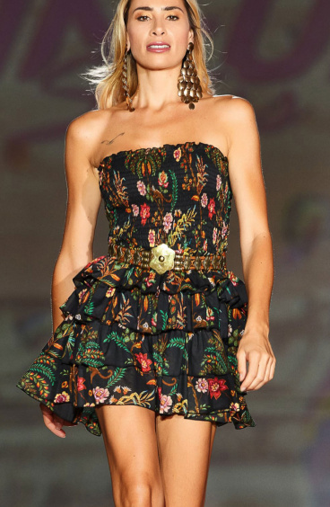 Mini Dress with Ruffles Indian Print Pin-Up Stars - 4