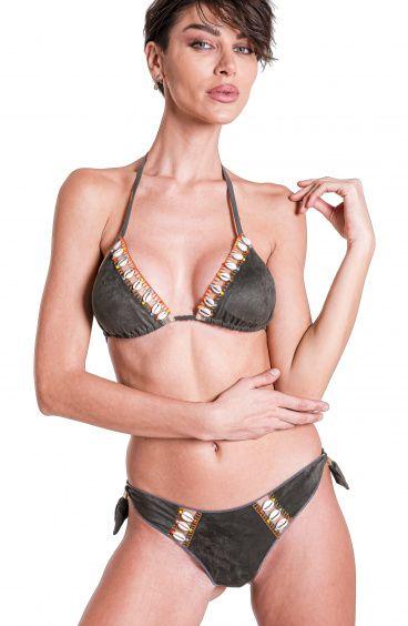 Bikini Triangle Shells Briefs Culotte In Simil Alcantara Pin-Up Stars - 11