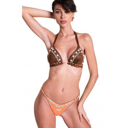 Bikini Triangolo Imbottito Slip Sgambato Ricamo Conchiglie