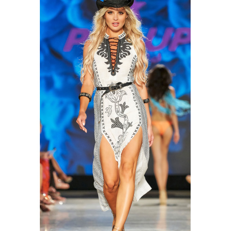 Long Dress Con Spacchi Stampa Patch