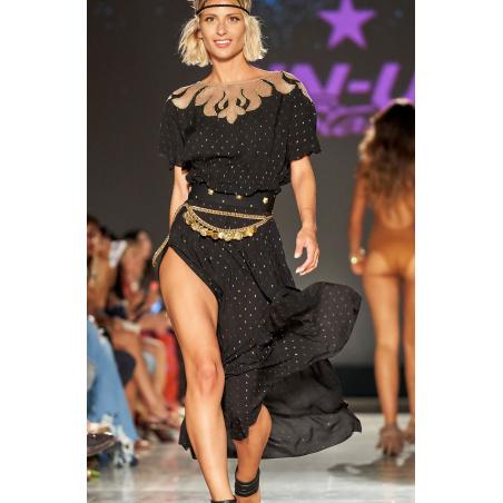 Long Dress Plumetì Gold Ricamo Rete
