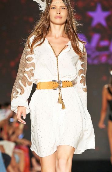 Short Dress Plumetì Gold Ricamo Rete Pin-Up Stars - 5