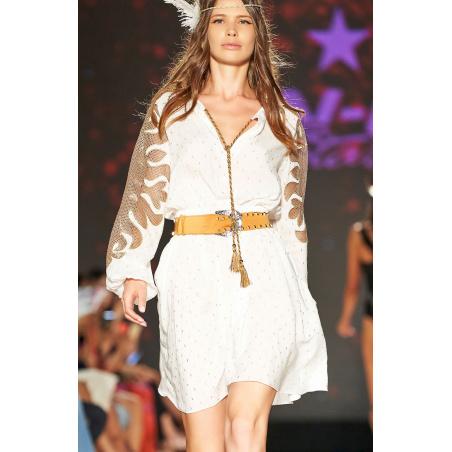 Short Dress Plumetì Gold Ricamo Rete