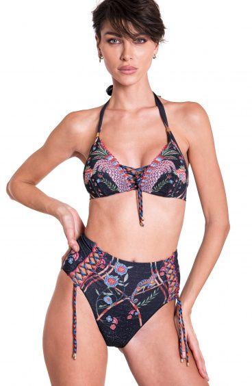 Bikini Brassiere Scollo Incrociato Slip A Vita Alta Camaleonte Pin-Up Stars - 7