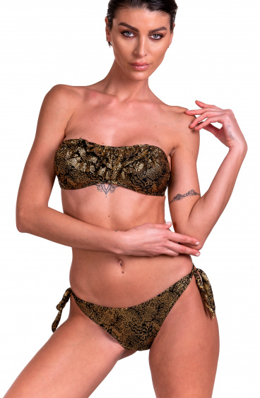 Bikini Fascia Imbottita Slip Fiocchi Stampa Jaguard Laminata Pin-Up Stars - 2