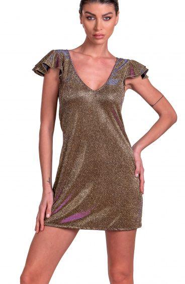 Dress With Ruffle Sleeve Belt In Iridescent Glitter Pin-Up Stars - 1