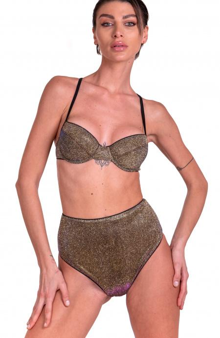 Bikini Balconcino Con Ferretto Slip Retrò In Glitter Cangiante Pin-Up Stars - 1