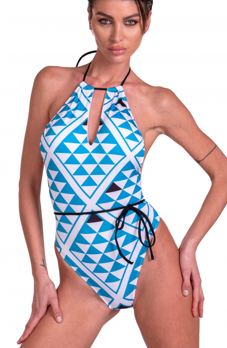 One Piece Swimsuit Drop Graphic Agogoa - 2
