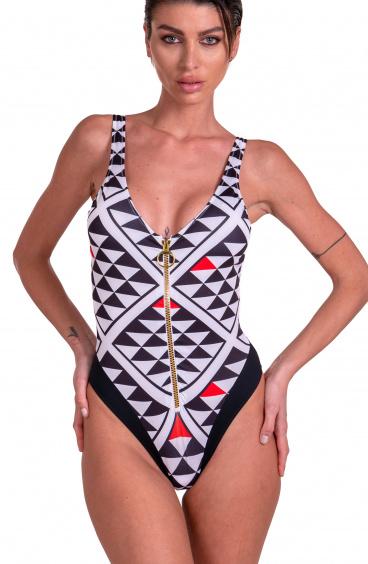 Costume Da Bagno Intero Grafic Con Zip Agogoa - 2