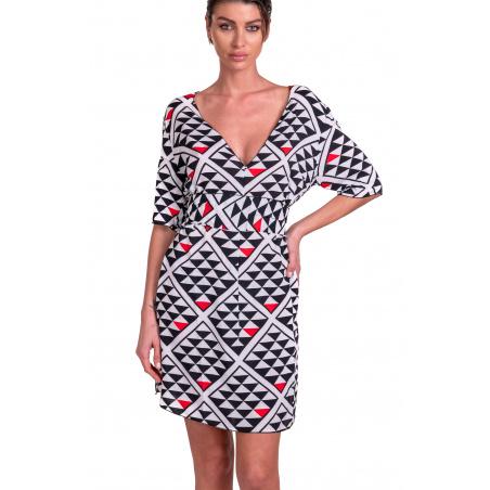 """""""V"""" Grafic Viscose Mini Dress"""
