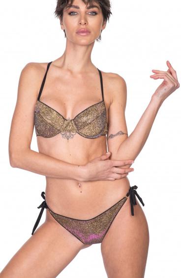 Balconette Bikini With Underwire Brazilian Slip In Iridescent Glitter Pin-Up Stars - 1