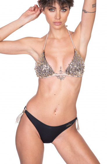 Padded Triangle Bikini Slip Bows Paillettes Net Pin-Up Stars - 10