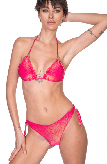 Bikini Triangolo Imbottito Slip Brasiliana Ricamo Cristalli Pin-Up Stars - 6