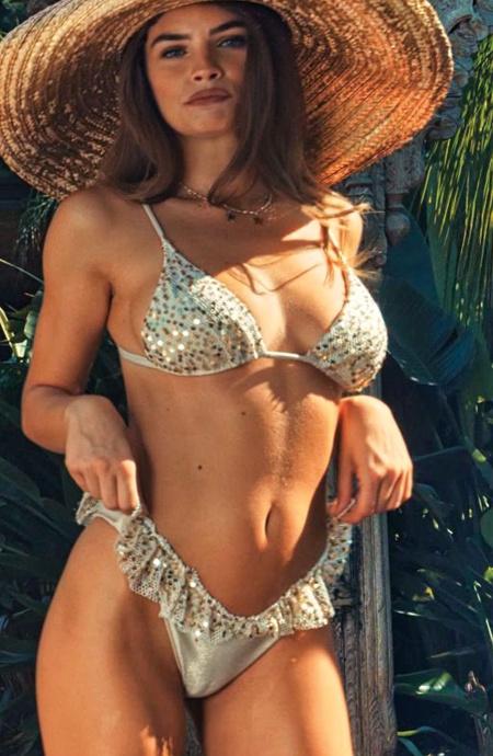 Bikini Triangolo Imbottito Slip Gonnellino Rete Paillettes Pin-Up Stars - 13