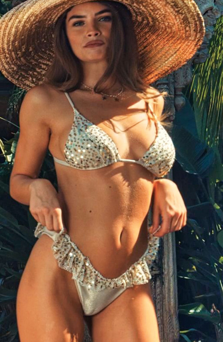 Padded Triangle Bikini Slip Skirt Mesh Paillettes Pin-Up Stars - 13