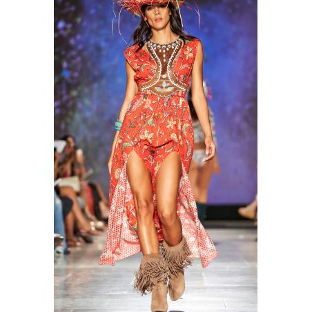 Long Dress Con Spacchi Stampa Camaleonte