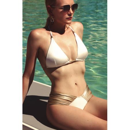 Bikini Triangolo Vela Imbottito Con Fiocco Slip Retrò Bicolor E Oro