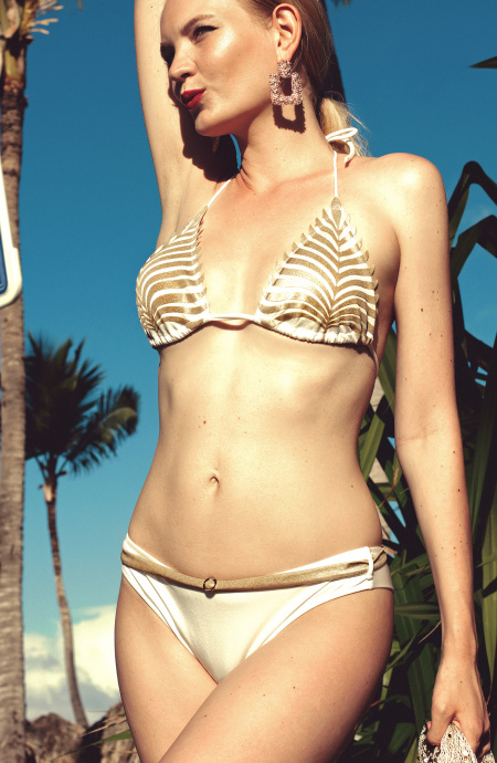Padded Triangle Bikini Briefs Culotte Laser Leaf Pin-Up Stars - 5