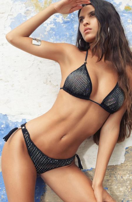Bikini Triangolo Imbottito Slip Small Rete Strass Pin-Up Stars - 4