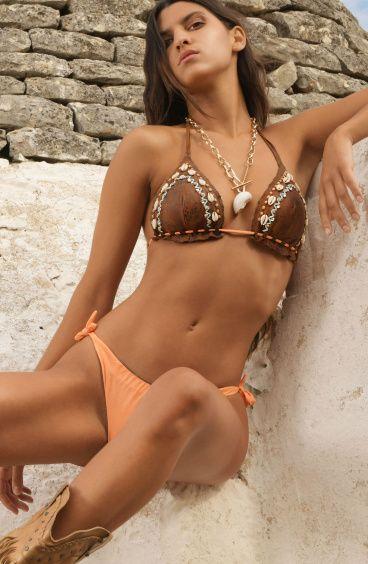 Padded Triangle Bikini Briefs Bows Embroidery Shells Pin-Up Stars - 4
