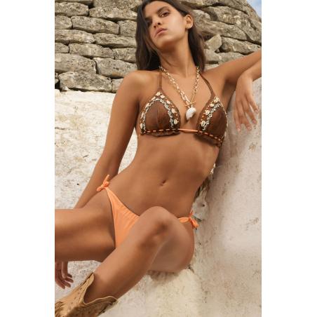 Bikini Triangolo Imbottito Slip Fiocchi Ricamo Conchiglie