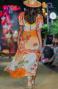 Long Dress Scollo a V In Garza Stampa Dune Pin-Up Stars - 2