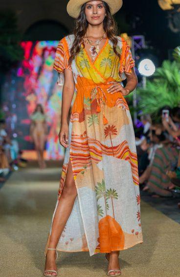 Long Dress Scollo a V In Garza Stampa Dune Pin-Up Stars - 1