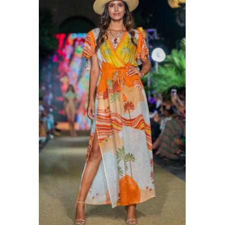 Long Dress Scollo a V In Garza Stampa Dune