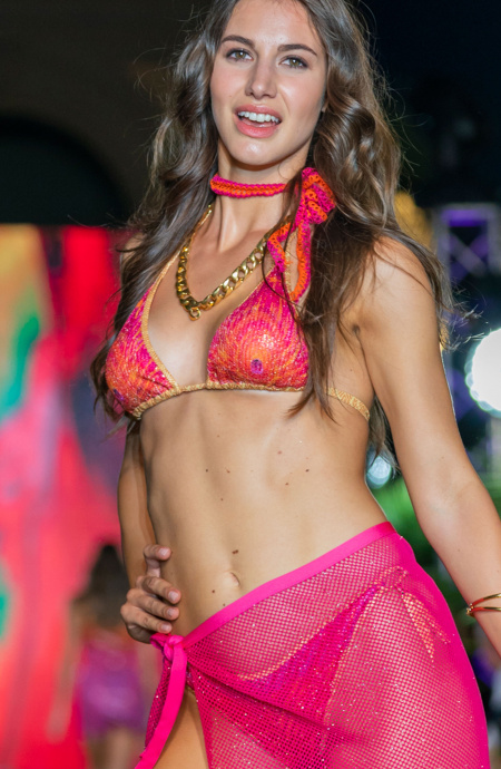 Bikini Triangolo Imbottito Slip Brasiliana Stampa Piuma Paillettes Pin-Up Stars - 1