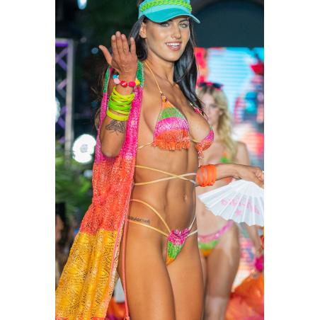 Bikini Triangolo Imbottito Slip Culotte Small Macramè Riga