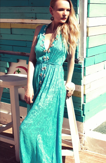 Long Dress Ricamo Conchiglie Pin-Up Stars - 1