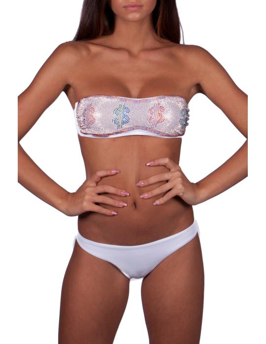 Bikini a fascia full-strass motivo Dollaro