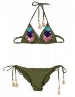 Bikini triangolo scorrevole ricamo tribal chic